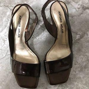 Antonio Melani brown patent heels sandals